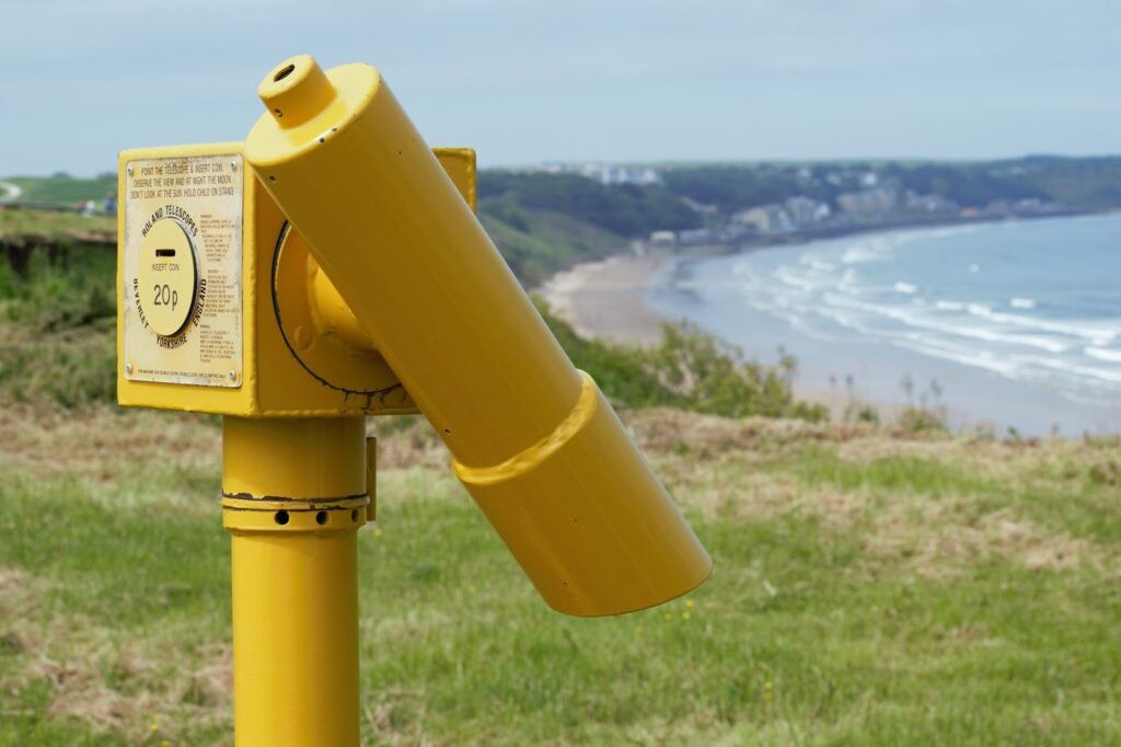 Yellow sight finder at the seaside